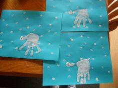 Children used q-tips to make snow and then painted hand white to make a polar bear.
