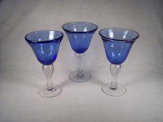 Hand Blown Glass Blue Cobalt Water Wine by SnapshotsThroughTime, $38.00