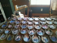 Engagement photos inside horseshoes. Not sure about them as favors, but cute for tables/centerpieces