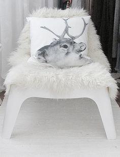 Modern Chair | Fur Throw | Reindeer Pillow