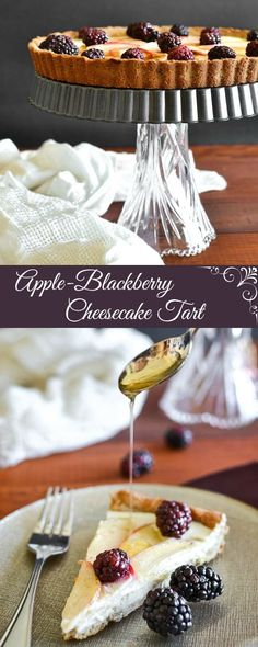 Healthy Apple-Blackberry Cheesecake Tart -  A 21 Day Fix approved dessert recipe that's perfect for Thanksgiving or Christmas!