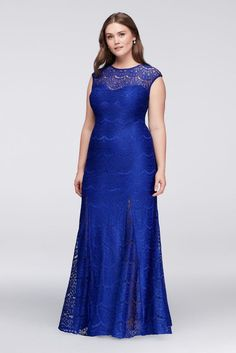 24c78e54ccc Scalloped Lace Plus Size Gown with Godet Skirt Style 21527W Royal Blue  Dresses