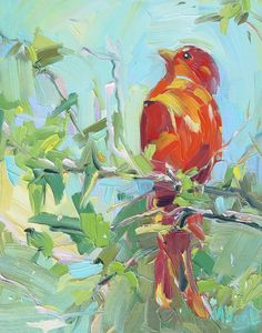 Summer Tanager   oil on panel