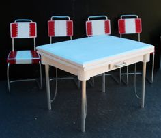 1:6 scale Vintage 'Ceramic Top' Kitchen Table by MiniPlacesStudio