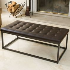 Christopher Knight Home Babette Brown Leather and Steel Frame Ottoman | Overstock.com Shopping - The Best Deals on Ottomans