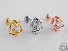 Jeweled rose barbell Tragus Piercing Jewelry, Tragus Piercings, Gauges, Belly Rings, Belly Button Rings, Body Jewelry, Jewellery, Diamond Are A Girls Best Friend, Barbell