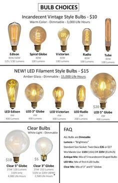LED and Antique Bulbs on Etsy $5