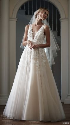 bhldn spring 2016 bridal gowns stunning romantic a line ball gown wedding dress flora applique v plunging neckline style ariane