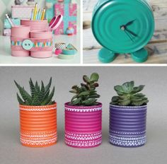 Going Green by Recycling Metal Cans for Money Saving Home Decorating : metal crafts and green ideas to reuse and recycle metal containers Aluminum Can Crafts, Tin Can Crafts, Aluminum Cans, Metal Crafts, Diy And Crafts, Decor Crafts, Recycling Containers, Metal Containers, Recycled Crafts Kids