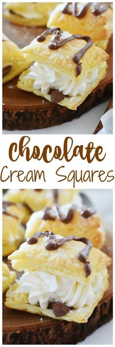 Whipped Cream & Chocolate dessert squares are the perfectly elegant Real Whipped Cream & Chocolate dessert squares are the perfectly elegant dessert. Real Whipped Cream & Chocolate dessert squares are the perfectly elegant dessert. Tasty Pastry, Puff Pastry Desserts, Puff Pastry Recipes, Mini Desserts, Easy Desserts, Dessert Recipes, Choux Pastry, Shortcrust Pastry, Chocolate Filling