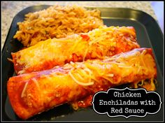 Easy Chicken Enchiladas with Red Sauce. This is super easy and taste great! Dinner is on the table in less than 30 minutes!