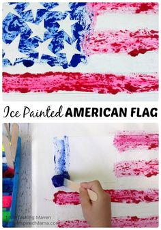 An Ice Paint American Flag Craft A Fun Patriotic Art Project for Kids Perfect for the of July or Memorial Day! - B-Inspired Mama Patriotic Crafts, July Crafts, Holiday Crafts, Creative Kids, Creative Crafts, Kids Learning Activities, Nanny Activities, Preschool Ideas, Toddler Activities