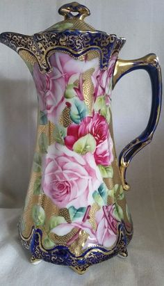 ANTIQUE NIPPON OLD NORITAKE CHOCOLATE POT ROSE FLOWERS GOLD BEADING FOOTED…