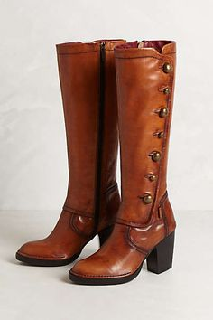 Clothing, Shoes & Accessories Enthusiastic Anthropologie Cognac Leather Knee High Wedge Yuko Imanishi Boots...rare Elegant Shape
