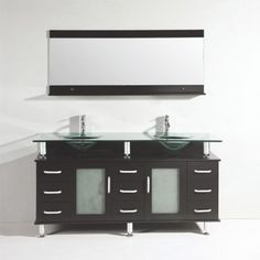 This 21st century style bathroom vanity offers a modern look with its espresso finish color accessorized with beautiful silver handles on the multiple storage drawers. The deep glass basin and long matching mirror will give any bathroom a look of contemporary luxury.