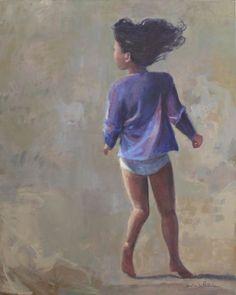 """Caroline DE PIEDOÜE (née 1954). """"Olivia"""". Acrylique sur toile, signé en bas à droite et titré au dos. Haut : 81 cm Larg : 65 cm. #enfant Le Chesnay Enchères - 05/09/2015"""