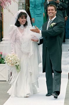 Maria Shriver and Arnold Schwarzenegger on their wedding day, April 26, 1986 in front of Saint Francis Xavier Roman Catholic Church in Hyannis, Massachusetts.