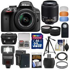 Nikon D3300 DSLR Digital Camera with 18-55mm VR II + Sigma 70-300mm Lens + SanDisk 128GB Memory + 2 Batteries + Charger + LED Video Light + Backpack + Case + Filters + Auxiliary Lenses + $50 Gift Card - Walmart.com