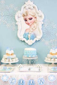 Cake + Sweets from a Frozen Dessert Table + Birthday Party via Kara's Party Ideas Frozen Disney, Disney Frozen Birthday, Elsa Birthday, Frozen Dessert Table, Dessert Table Birthday, Dessert Tables, Table Party, Birthday Desserts, Cake Birthday