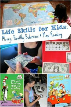 Skills for Kids: Money Management, Map Skills & Healthy Behaviors Great resources for teaching kids about money, healthy behaviors and map reading skills!Great resources for teaching kids about money, healthy behaviors and map reading skills! Life Skills Lessons, Life Skills Activities, Teaching Life Skills, Map Skills, Hands On Activities, Teaching Kids, Teaching Reading, Stem Activities, Preschool Life Skills