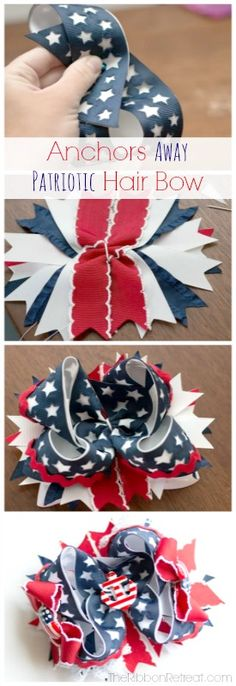 Learn how to make an adorable patriotic hair bow with this step by step tutorial. Big, loopy bows are so fun to make and to wear and this bow is stunning! Diy Hair Bows, Making Hair Bows, Diy Bow, Hair Ribbons, Ribbon Bows, Ribbon Flower, Bow Making, Ribbon Hair, Ribbon Retreat