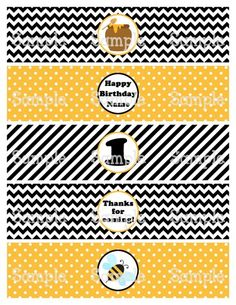 Printable M2M Honey Bumble Bees Water Bottle Label Wrappers | aMerAZNStyLe - Digital Art  on ArtFire