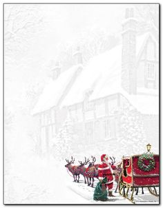 Sleigh Holiday Letterhead is perfect for your Christmas messages. This stationery paper features a colorful Santa with his reindeer and sleigh ove. Christmas Letterhead, Christmas Stationery, Christmas Frames, Christmas Paper, Christmas Messages, Christmas Ideas, Christmas Cards, Cute Writing, Writing Paper