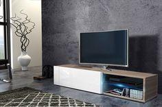 TV stolík/skrinka - Renar - Best (sonoma svetlá + lesk biely)