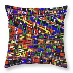 """Random Color Abstract#5932 Throw Pillow by Tom Janca.  Our throw pillows are made from 100% spun polyester poplin fabric and add a stylish statement to any room.  Pillows are available in sizes from 14"""" x 14"""" up to 26"""" x 26"""".  Each pillow is printed on both sides (same image) and includes a concealed zipper and removable insert (if selected) for easy cleaning."""