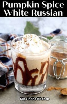 Gather around the fire pit and enjoy a Pumpkin Spice White Russian! It's just the ticket for relaxing and enjoying the cooler weather! A fantastic fall cocktail made with coffee liqueur. Thanksgiving Recipes, Fall Recipes, Holiday Recipes, Drink Recipes, Delicious Breakfast Recipes, Yummy Food, Yummy Recipes, White Russian, Tasty Dishes