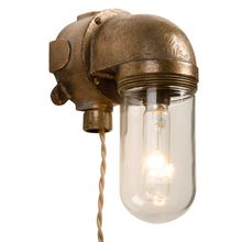 Modern and Industrial Naval Brass Sconce c 1950. cool for closet