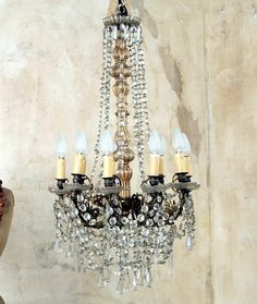 Antique French Crystal Chandelier 9 Arm