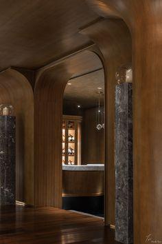 茉里官邸 Mansion by Moli on Behance Ceiling Design, Wall Design, Tailor Shop, Wall Finishes, Bar Areas, Wood Interiors, Restaurant Bar, Interior Inspiration, Architecture Design