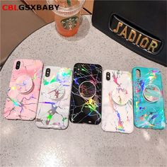 Wholesale Holo Chrome Marble Case For Iphone 7 8 Plus X Xs Max Laser Holder Stand Phone Cover For Iphone 6 Coque Iphone 7 Plus, Iphone 8, Coque Iphone, Iphone Phone Cases, Cell Phone Covers, Marble Iphone Case, Marble Case, Girly Phone Cases, Diy Crafts