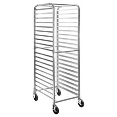 Gridmann Commercial Bun Pan Bakery Rack - 20 Sheet Loads from both front and back sides Lightweight and easy to move around Rubber-coated swivel casters; 2 with locking brakes Tray slides firmly welded to frame posts Cross support bars for stability Furniture Deals, Kitchen Furniture, Laundry Sorter Hamper, Coffee Shop Business Plan, Turntable Cake, Door Rack, Pan Rack, Food Service Equipment, Commercial Kitchen