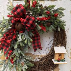 Updates from FlowerPowerOhio on Etsy - without the bird house Christmas Wreaths For Front Door, Christmas Swags, Holiday Wreaths, Rustic Christmas, Holiday Crafts, Christmas Decorations, Winter Wreaths, Spring Wreaths, Summer Wreath