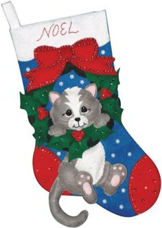 Grey Cat Stocking Felt Applique Kit Design Works http://www.amazon.com/dp/B003BCWM0U/ref=cm_sw_r_pi_dp_VH54tb1N0CNHZ