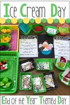End of the Year Activities Ice Cream Day - Holly Ware - Beyond Binary Guided Reading Activities, End Of Year Activities, First Grade Activities, Teaching Activities, Teaching Ideas, Teacher End Of Year, End Of School Year, Summer School, Summer Daycare
