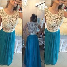 Lace and Chiffon Prom Dress with Pearls, Prom Dresses, Graduation Party Dresses, Formal Dress For Teens, BPD0089