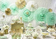 rose gold and mint green | Mint Green, Gold and White Dessert table