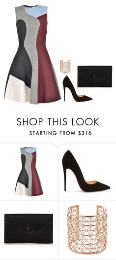 """""""Sem título #2579"""" by mprocedi ❤ liked on Polyvore featuring Victoria Beckham, Christian Louboutin, Yves Saint Laurent and Co.Ro"""