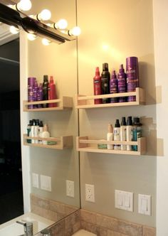Beautiful wall-mounted shelves save up counter space