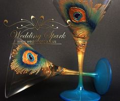 Peacock feather gold blue martini glasses