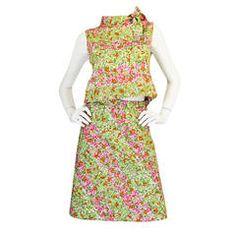 Early 1960s Pierre Cardin for Takashimaya Floral Suit Set