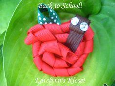 Toddler Apple Worm Hair Clip  Ribbon Sculpture  by katelynnskloset, $4.75