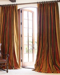 Dupioni Silk Drapes Striped, drapery fabric, silk dupioni fabric ~ Home Design Silk Curtains, Sheer Drapes, Curtains For Sale, Drapery Styles, Traditional Curtains, Luxury Rooms, Custom Drapes, Cozy Room, Cool House Designs