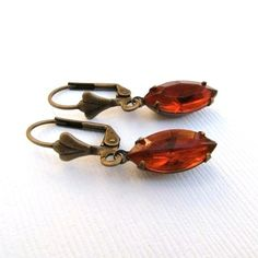 Vintage Orange Jewel Glass Marquis and Brass by TheSilverDog, $10.00