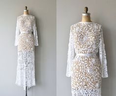 Amazing vintage white cotton/raime irish lace wedding gown with long slender sleeves, deep V back with buttons, unfitted waist (shown with white ribbon belt, included). Unlined and a slip is necessary, not included. --- M E A S U R E M E N T S ---  fits like: medium bust: 34-38 waist: fits 27-30 hip: up to 44 sleeve: 21 length: front 60, back 64 brand/maker: n/a condition: excellent  ✩ layaway is available for this item  To ensure a good fit, please read the sizing guide…