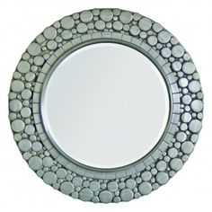 New! Large 36 inch diameter antiqued silver toned mirror with bubble-like details. #coastalmirror #beachymirror