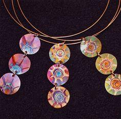 torch tip manipulation Copper triple choker, green oxidized copper jewelry. $25.00, via Etsy.